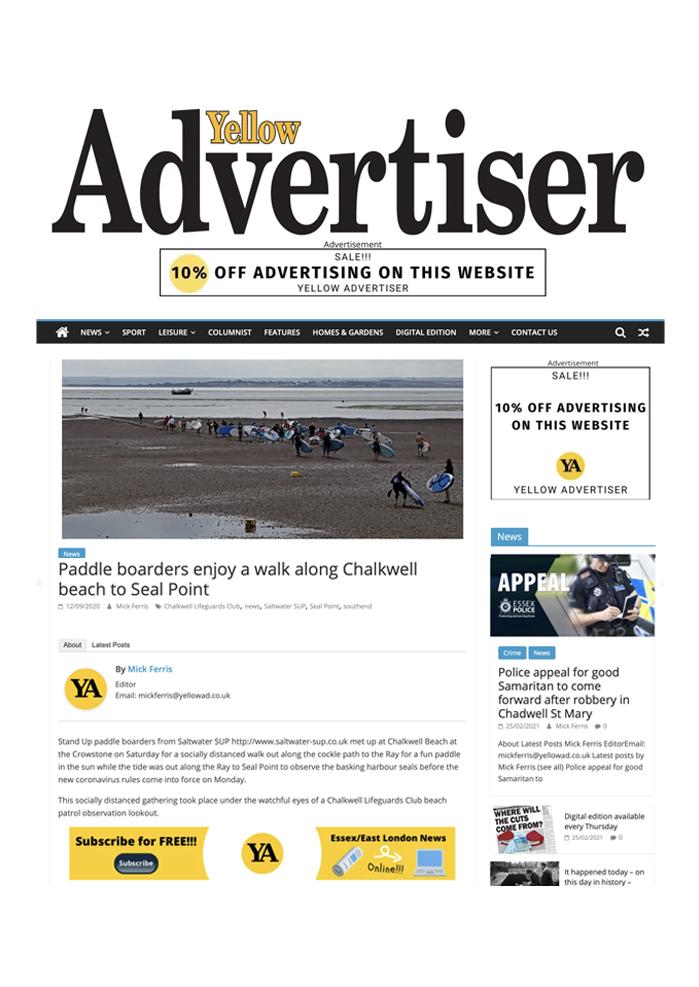 Saltwater SUP Yellow Advertiser